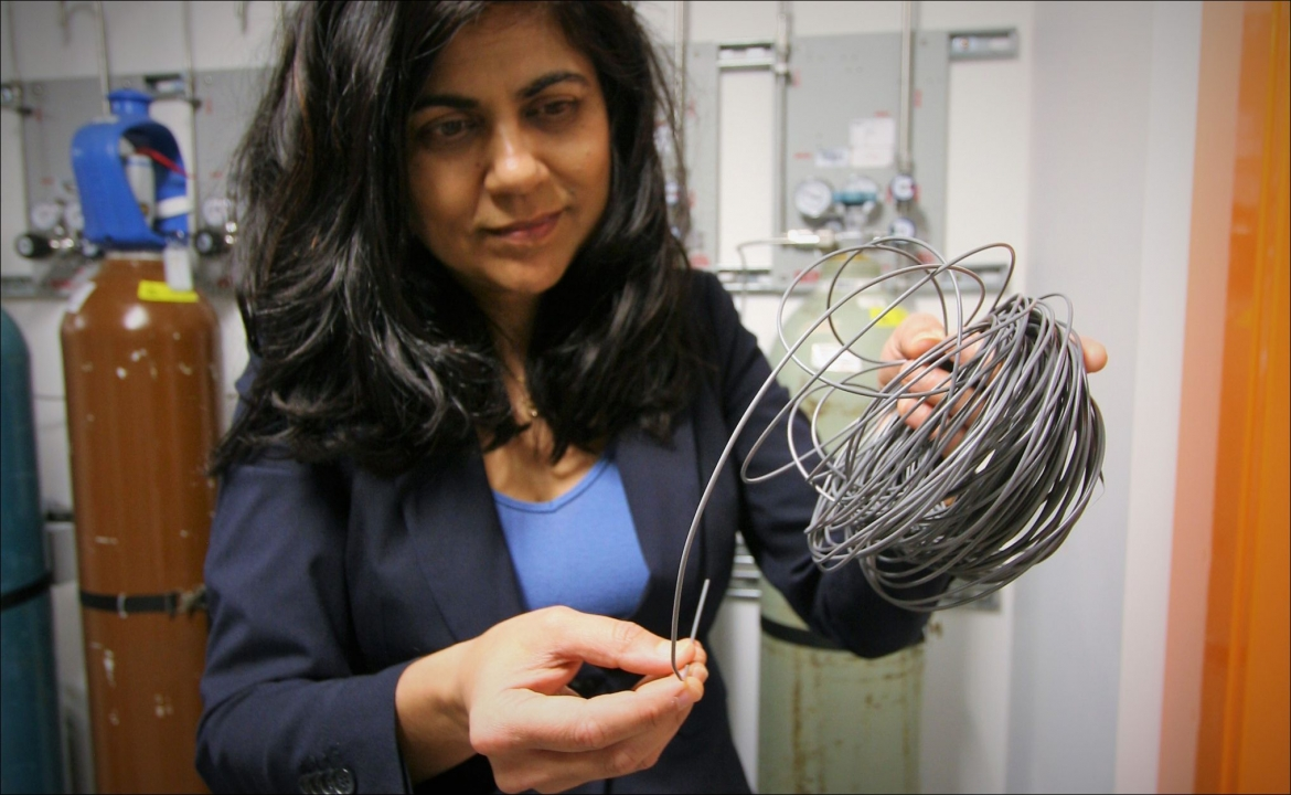 Professor holds 3d printer filament